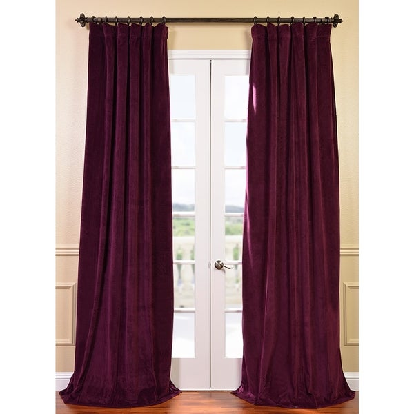 Exclusive Fabrics Signature Eggplant Velvet 96-inch Blackout Curtain Panel
