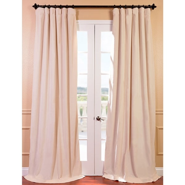 Exclusive Fabrics Signature Ivory Velvet 96-inch Blackout Curtain Panel