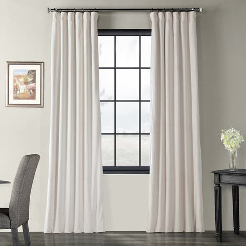 Exclusive Fabrics Signature Ivory Velvet Blackout Single Curtain Panel