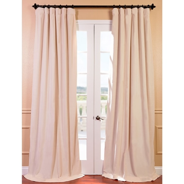 Exclusive Fabrics Signature Ivory Velvet 120-inch Blackout Curtain Panel