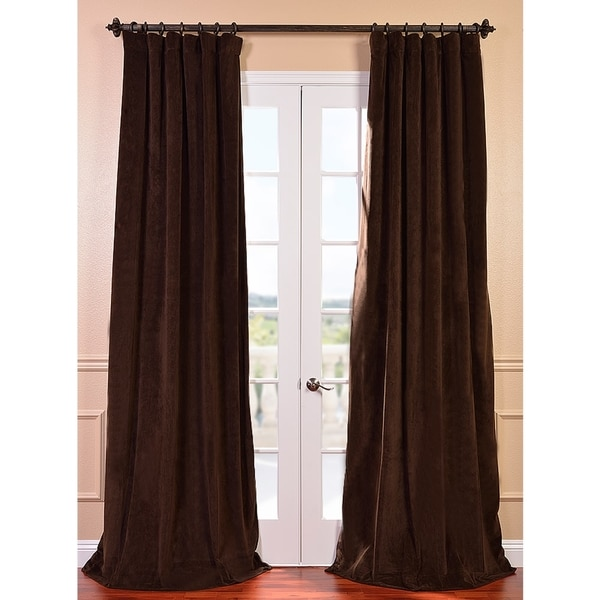 Exclusive Fabrics Signature Java Velvet 84-inch Blackout Curtain Panel