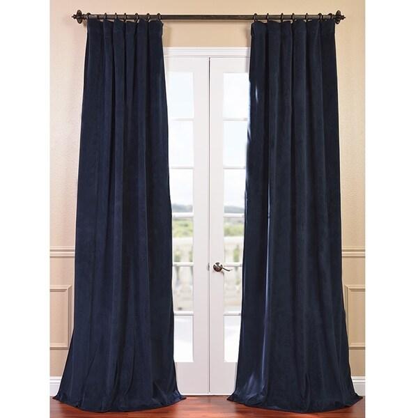 Exclusive Fabrics Signature Midnight Blue Velvet 84-inch Blackout Curtain Panel