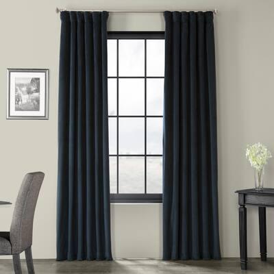 Exclusive Fabrics Signature Midnight Blue Velvet Blackout Single Curtain Panel