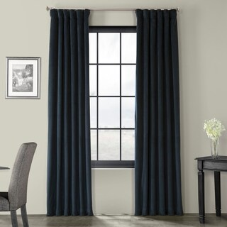 Exclusive Fabrics Signature Midnight Blue Velvet Blackout Single Curtain Panel