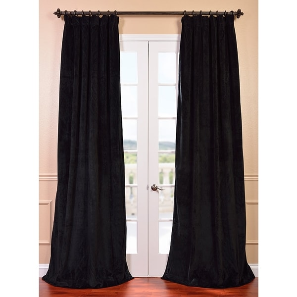 Exclusive Fabrics Signature Warm Black Velvet 96-inch Blackout Curtain Panel