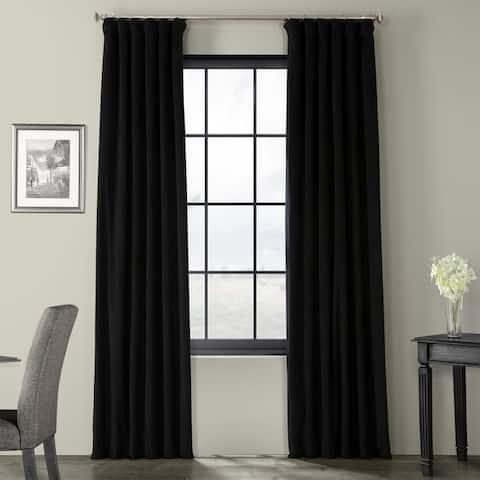 Exclusive Fabrics Signature Warm Black Velvet Single Blackout Curtain Panel