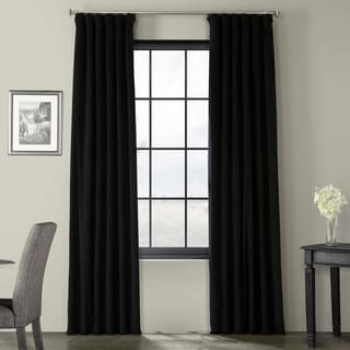 Exclusive Fabrics Signature Warm Black Velvet Blackout Curtain Panel