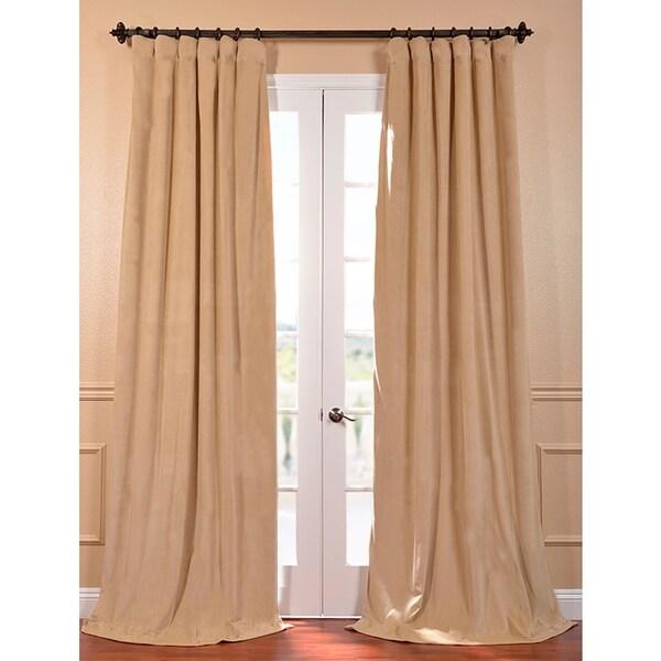 Exclusive Fabrics Signature Wheat Velvet 84-inch Blackout Curtain Panel