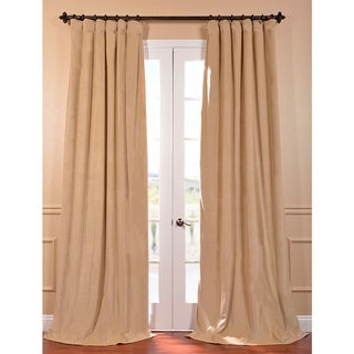 Exclusive Fabrics Signature Wheat Velvet 96-inch Blackout Curtain Panel