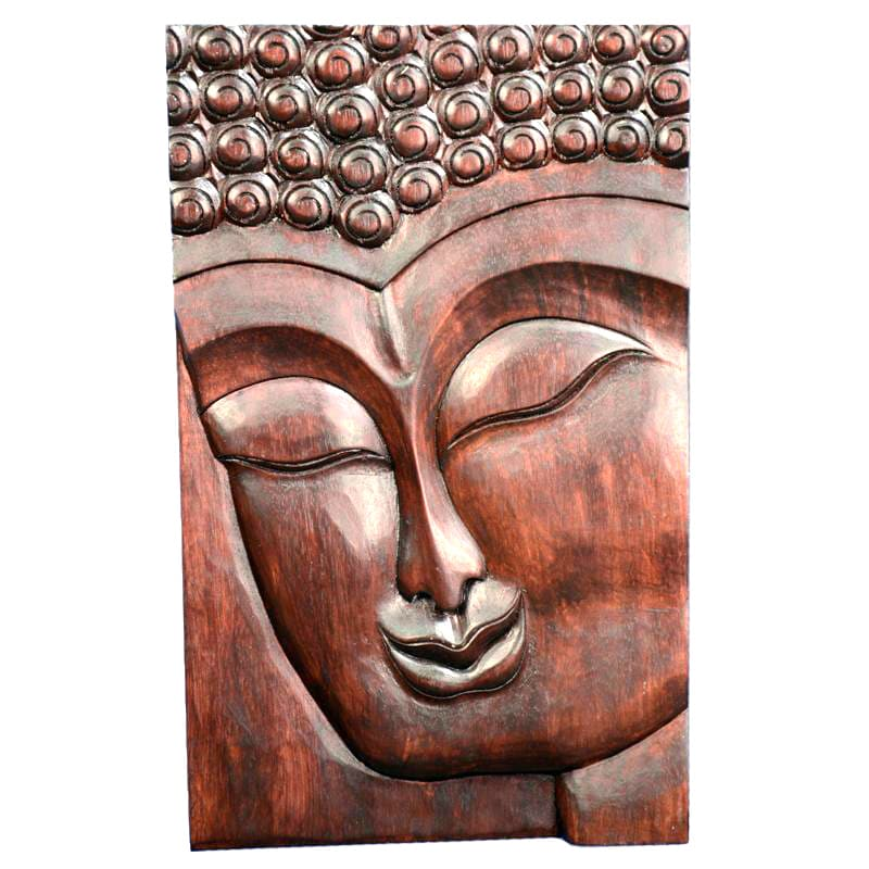 Hand Carved Wooden Thai Buddha Face Wall Art Plaque: Shop Suar Wood Buddha Face Wall Hanging (Indonesia)