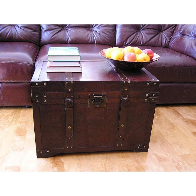 Gold rush large wooden steamer treasure trunk free for Overstock trunk coffee table