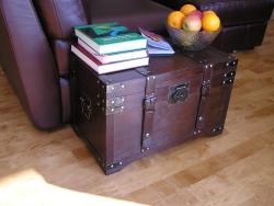 Gold Rush Medium Wooden Steamer Treasure Trunk - Thumbnail 1