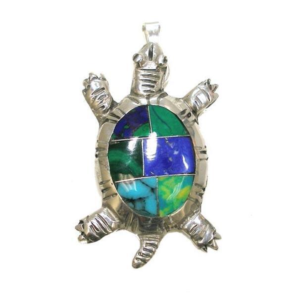 Handmade Alpaca Silver Inlaid Stone Turtle Pendant (Mexico)