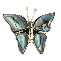 Alpaca Silver Abalone Butterfly Pin (Mexico)