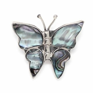 Handmade Alpaca Silver Abalone Butterfly Pin (Mexico)