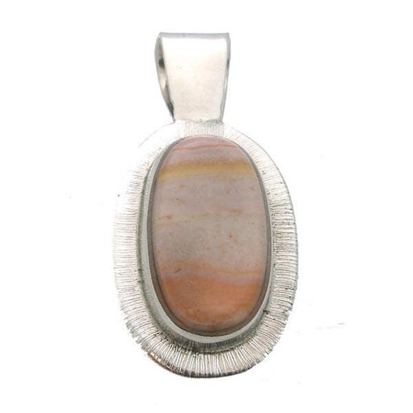 Handmade Alpaca Silver Picture Jasper Oval Pendant (Mexico)