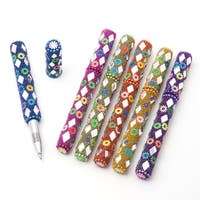 Set of 6 Beaded and Mirrored Ink Writing Pens (India)
