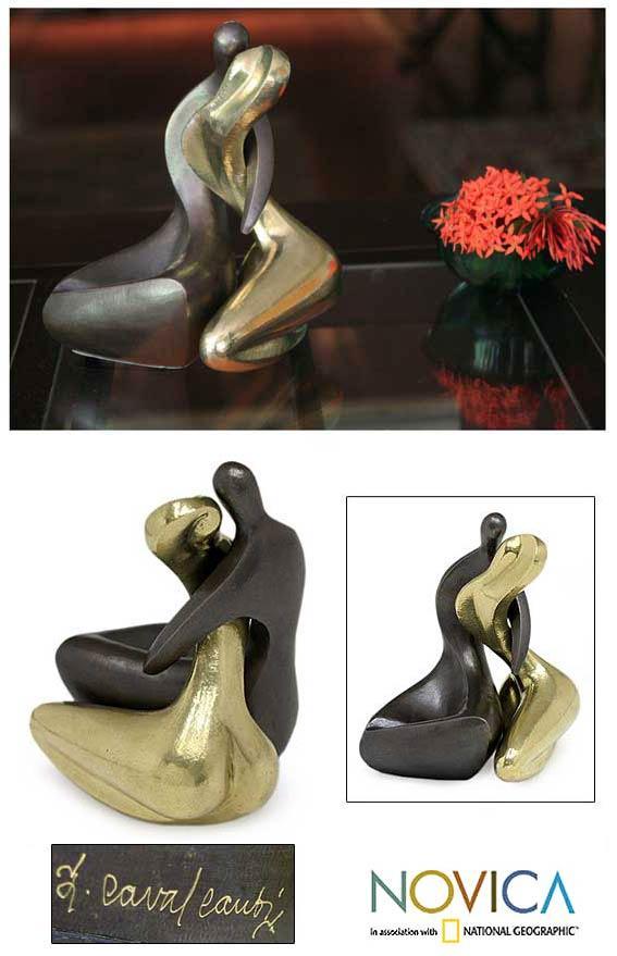 Handmade Set of 2 Bronze 'Couple' Sculptures (Brazil)
