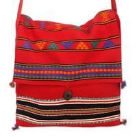 Handmade Cotton 'Rajasthan Rapture' Medium Shoulder Bag (India)