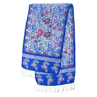 Handmade Silk 'Sapphire Mums' Batik Shawl (Indonesia)