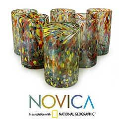 Hand Blown Set of 6 Multicolor Glasses Carnival Tumblers (Mexico) - Thumbnail 1