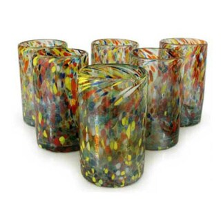 Handmade Set of 6 Multicolor Glasses Carnival Tumblers (Mexico)