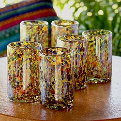 Hand Blown Set of 6 Multicolor Glasses Carnival Tumblers (Mexico)