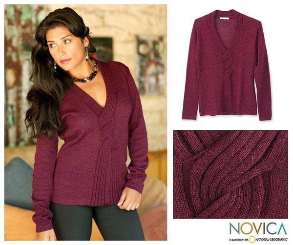 Alpaca Wool 'Wine Bouquet' Sweater (Peru)