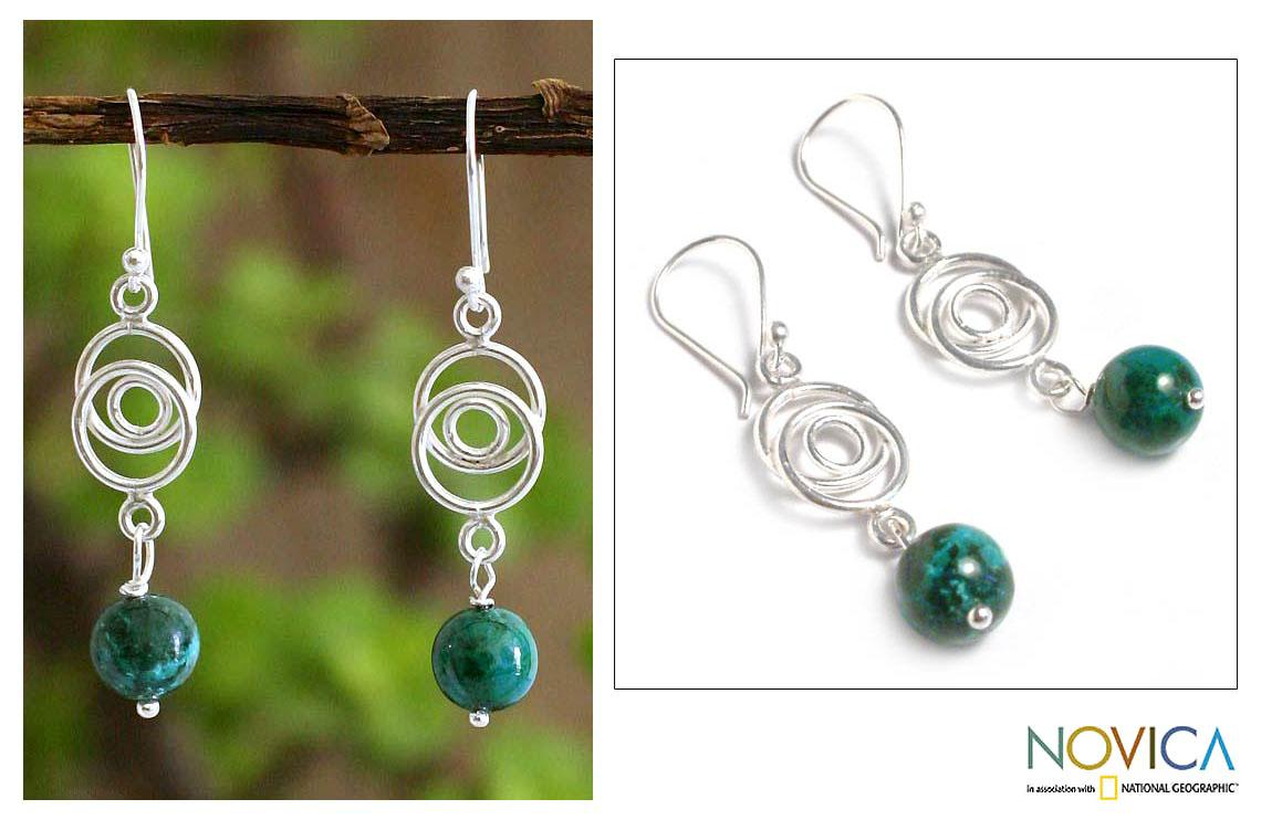 Sterling Silver 'Friendship Chain' Chrysocolla Earrings (Peru) - Thumbnail 0