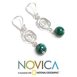 Sterling Silver 'Friendship Chain' Chrysocolla Earrings (Peru) - Thumbnail 1