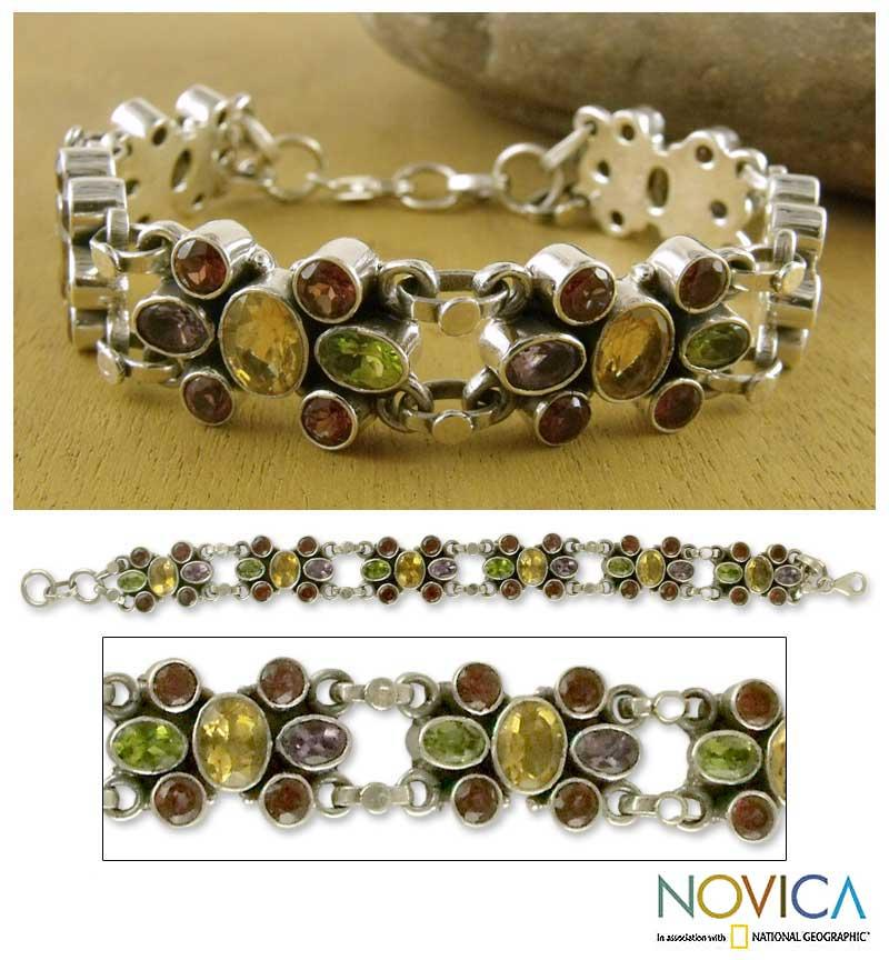 Handmade Sterling Silver 'Rainbow Sparkle' Amethyst Garnet Bracelet (India)
