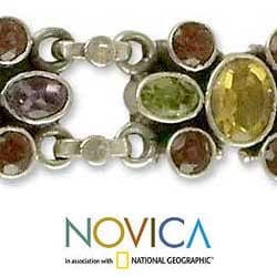 Handmade Sterling Silver 'Rainbow Sparkle' Amethyst Garnet Bracelet (India) - Thumbnail 2