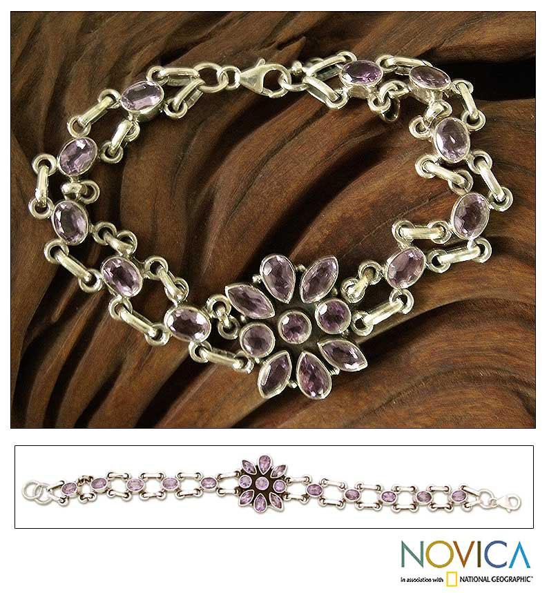 Sterling Silver 'Lavender' Amethyst Bracelet (India)