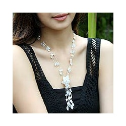 Silk 'Fantasy' Moonstone Pearl Necklace (6 mm) (Thailand)