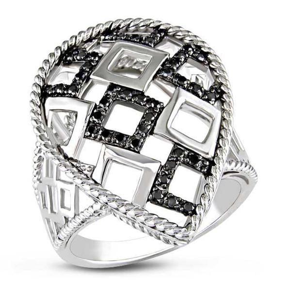 Miadora Sterling Silver 1/4ct TDW Black Bead-set Diamond Ring