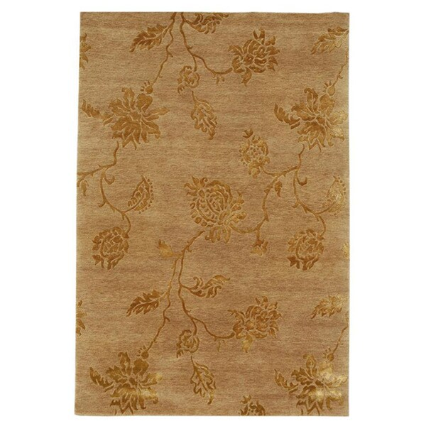 Hand-knotted Accra Floral Wool and Art Silk Rug (5'6 x 8'6)
