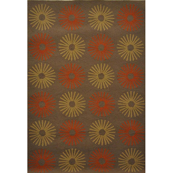 Hand-hooked Elisei Brown Abstract Rug (5' x 7'6)