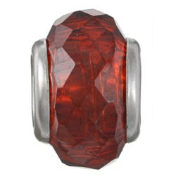 Sterling Essentials Sterling Silver Faceted Red Cubic Zirconia Bead