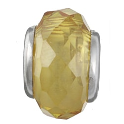 Sterling Essentials Sterling Silver Faceted Yellow Cubic Zirconia Bead