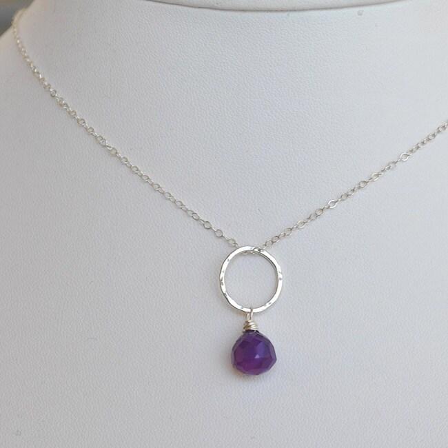 AEB Designs Silver Purple Chalcedony Necklace