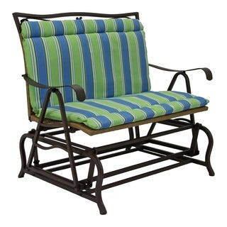 All-Weather Blue Floral Outdoor Double Glider Chair Cushion (As Is Item)