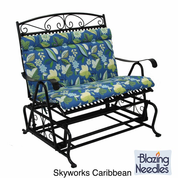 All Weather Blue Floral Outdoor Double Glider Chair