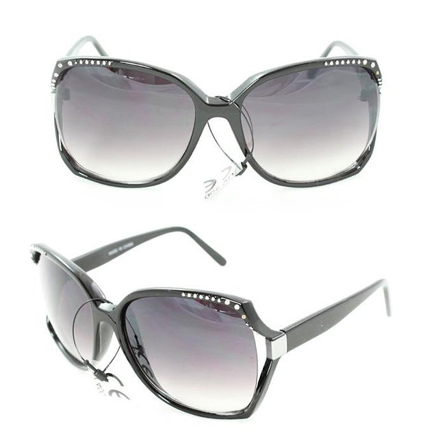 Women's UV512 Black Rhinestone Plastic Square Sunglasses