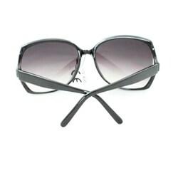 Women's UV512 Black Rhinestone Plastic Square Sunglasses - Thumbnail 1
