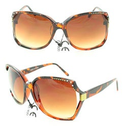 Women's UV512 Brown Leopard Rhinestone Square Sunglasses