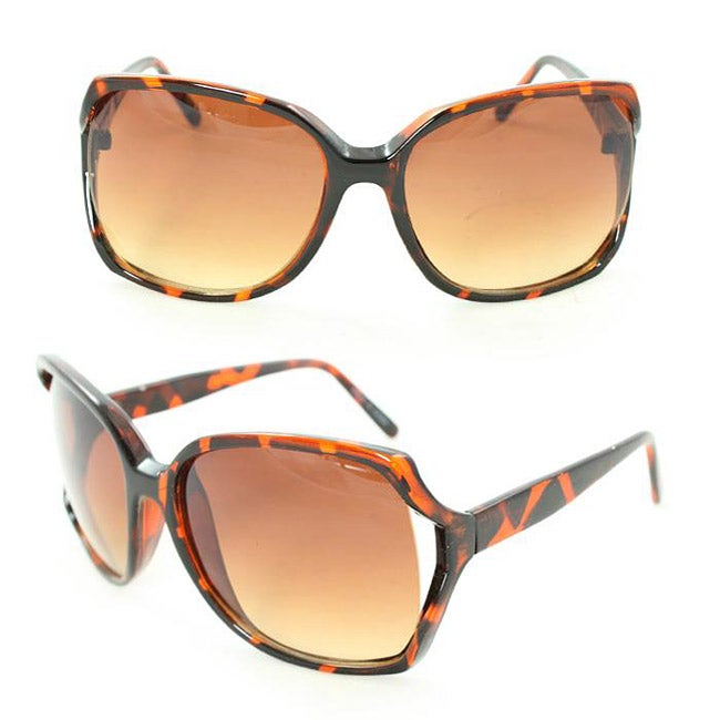 Women's UV512 Brown Leopard Plastic Square Sunglasses