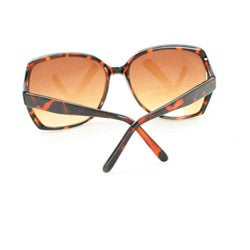 Women's UV512 Brown Leopard Plastic Square Sunglasses - Thumbnail 1