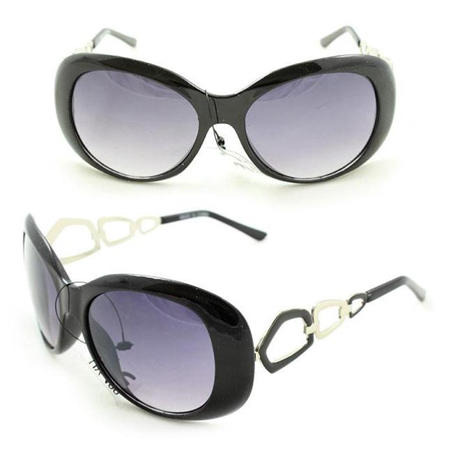 Women's 11121 Black and Purple Round Sunglasses