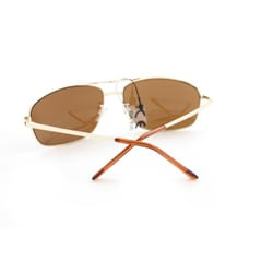 Men's 7837 Gold and Brown Wrap Sunglasses - Thumbnail 1