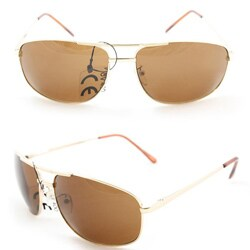 Men's 7837 Gold and Brown Wrap Sunglasses